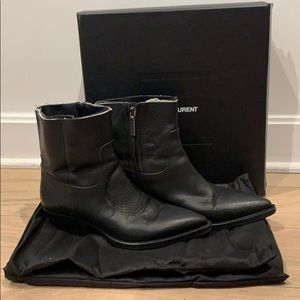 Saint Laurent Theo Frayed Western Ankle Boots